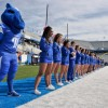 Oct 4, 2014; Murfreesboro, TN, USA; Middle Tennessee Blue Raiders cheerleaders during the national anthem prior to the game against the Southern Miss Golden Eagles at Floyd Stadium. Middle Tennessee won 37-31. Mandatory Credit: Jim Brown-USA TODAY Sports