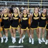 Oct 25, 2014; Hattiesburg, MS, USA; The Southern Miss Golden Eagles cheerleaders after their loss to the Louisiana Tech Bulldogs at M.M. Roberts Stadium. Louisiana Tech won, 31-20. Mandatory Credit: Chuck Cook-USA TODAY Sports