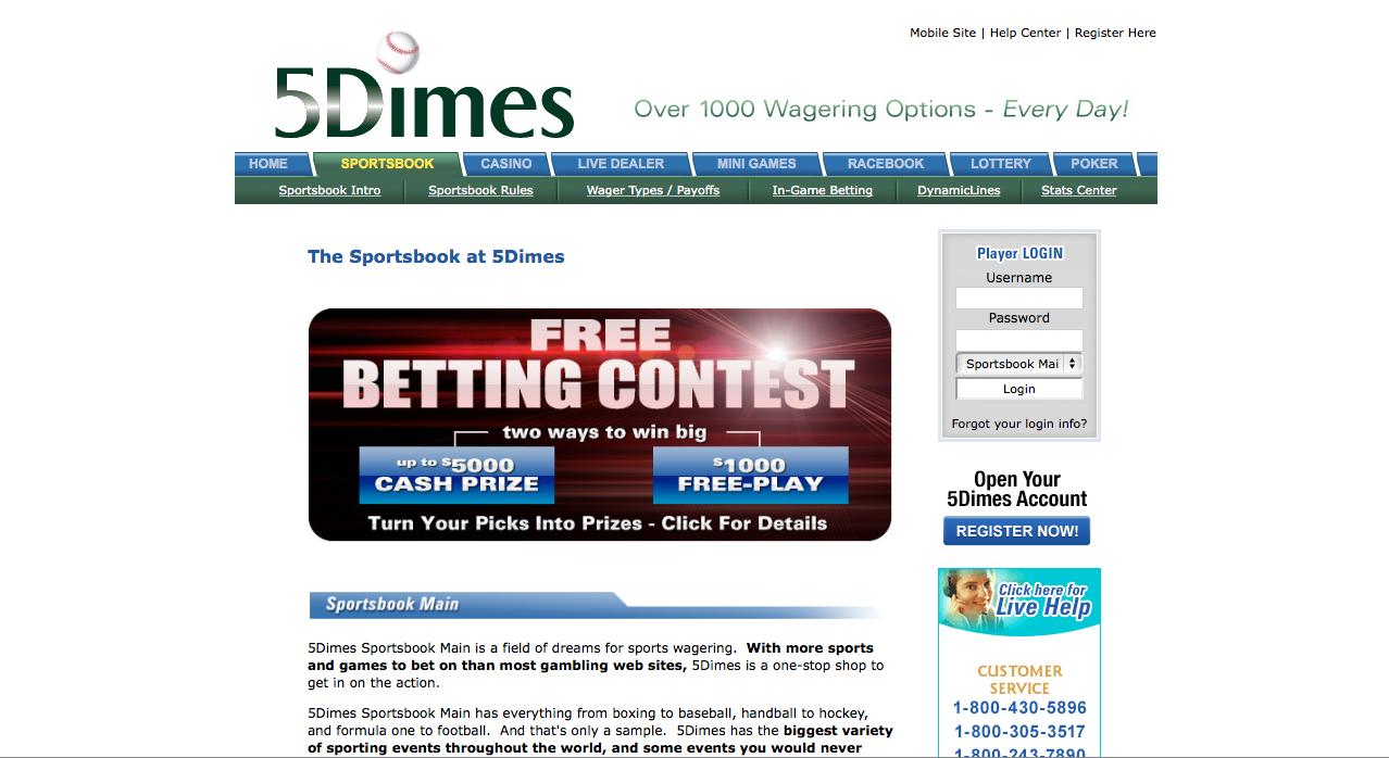 bet us racing 5dimes sportsbook bonus